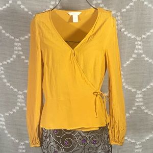 H&M mustard textured wrap blouse size 4